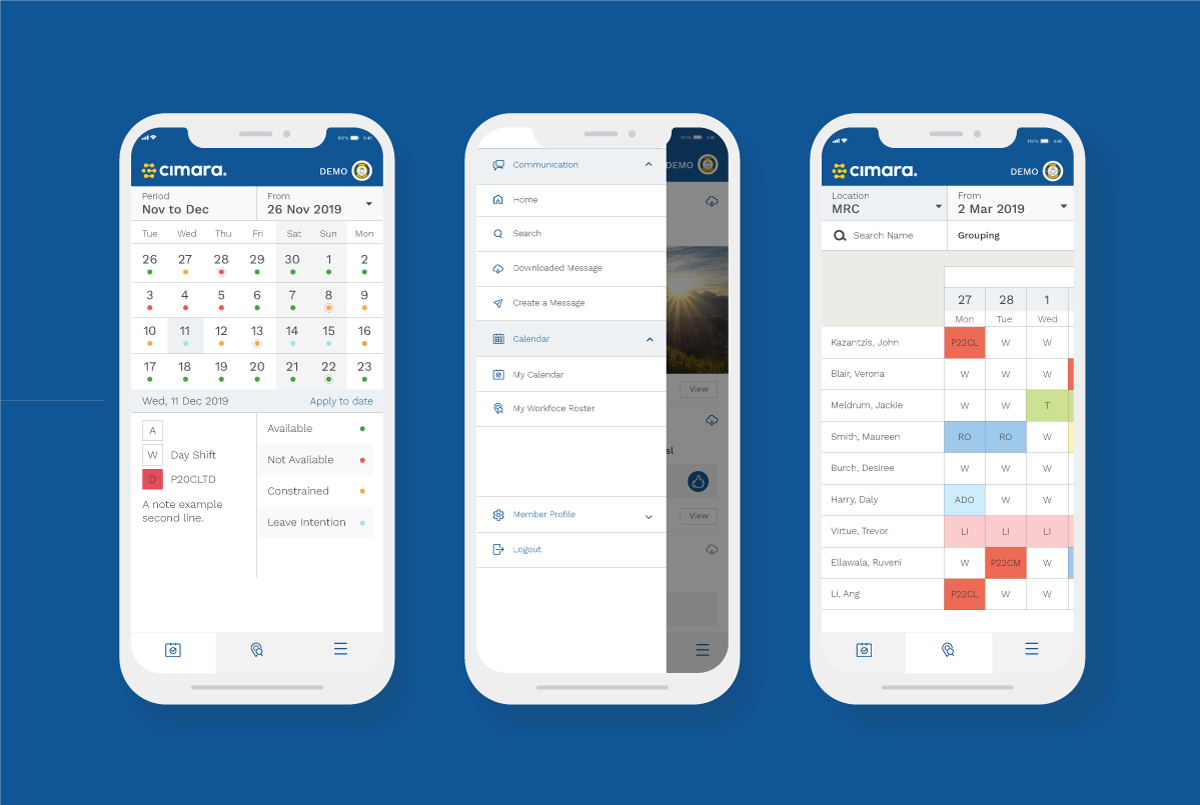 Cimara mobile app 2.0 My Calendar and My Workforce Roster user interface